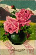 """FANTAISIE STYLE KLEIN,""""ROSE EN POT """" ANNIVERSAIRE    REF 46727 - Fiori"""
