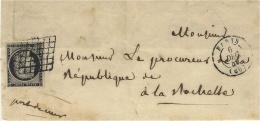 1849- DEVANT De Lettre De PARIS  Affr. N°3 A ( Noir S/ Blanc ) 4 Marges Oblit. Grille Pour La Rochelle - Storia Postale