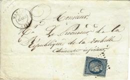 1852- Enveloppe De MARANS ( Char. Mar. ) Cad T15 Affr. N°4 ( Au Filet ) Oblit. Pc 1860 - 1849-1876: Période Classique