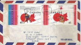 Canada To India Used Cover With Two Stamps On Cover, 1998, SUMO BASHO, As Per Scan - Commemorative Covers