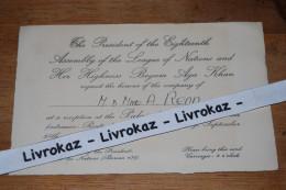 SDN Genève, Carton D'invitation Pour La Réception Donnée Au Palais Des Nations, Begum Aga Khan, 25 Septembre 1937 - Vieux Papiers