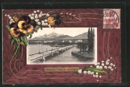 CPA Gaufrée Geneve, Pont Du Montblanc, Pensée - GE Genève