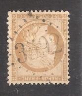 CERES N° 59 , 15 C Bistre Obl GC 3592 De ST SAINT FERREOL D ' AUROURE , Haute Loire, INDICE 14 ,TB - 1871-1875 Cérès