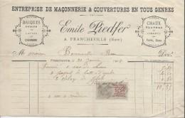Facture/Emile Piedfer/Maçonnerie/FRANCHEVILLE/Eure/ 1918   FACT141 - Petits Métiers