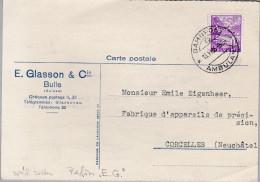 """Schweiz Landschaft 1936-06-13 Bahnpost Perfin Beleg """"E.G."""" E. Glasson Bulle Spät Selten - Suisse"""