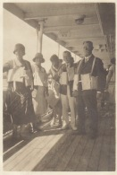 Photo Ancienne Du Paquebot Le Brazza Croisière Les Gilets De Sauvetage - Boats