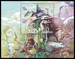 UKRAINE 2001. BLACK SEA MARINE LIFE. DOLPHINS, FISHES, SEAGULLS. Mi-Nr. 469-70 Block 33. MNH (**) - Möwen
