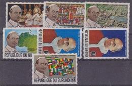 Burundi 1969 Visit Pope Paul VI 7v ** Mnh (29797) - Burundi