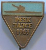 Rowing, Kayak, Canoe - VII. European & Extraordinary World Cup PESK 1963, Jajce, Yugoslavia, Enamel, Vintage Pin, Badge - Canoeing, Kayak