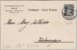 """Schweiz Tellknabe 1918-01-18 Basel Perfin-Beleg """"J.&C."""" J028 Im Obersteg Tellknabe Typ 3 - Briefe U. Dokumente"""