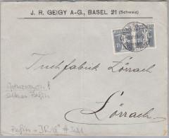 """Schweiz Tellknabe 1919-12-03 Basel Seltenes Perfin """"JR/G"""" #3021 Geigy Auf Grenzrayon Brief - Suisse"""