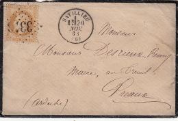 Lettre N°28 GC 3313 CaD SATILLIEU (Ardèche) 1868 - Marcophilie (Lettres)