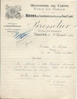 Lettre à En-tête/Brasserie De Cidre/Biéres/Bressolier /TROYES/Aube//1940      FACT179 - Alimentaire