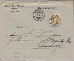 """Schweiz Tellknabe 1910-05-24 Zürich Perfin Brief """"F.C.W."""" #F009 Franz Carl Weber Weitergel - Suisse"""