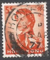Hong Kong. 1966-72 QEII. 5c Used. Sideways Block CA W/M SG 222 - Hong Kong (...-1997)