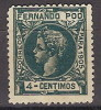 Fernando Poo 139 (*) Alfonso XIII. 1905. Sin Goma. - Fernando Po
