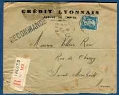 France  - Pasteur Perforé CL Sur Enveloppe En Recommandée En 1931  à Voir 2 Scans   Réf. 879 - Perforés