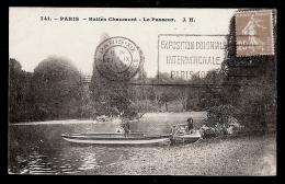 CPA ANCIENNE- PARIS (75)- BUTTES CHAUMONT- LE PASSEUR EN GROS PLAN- ANIMATUION - Francia