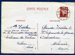 France  - Oblitération De Trélon  Sur Entier Postal Type Pétain Pour Le Maroc En 1942  à Voir 2 Scans   Réf. 882 - Marcophilie (Lettres)