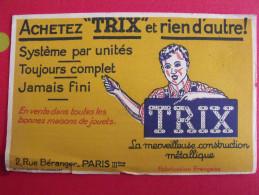 Buvard TRIX La Merveilleuse Construction Mécanique (concurrent De Meccano). Vers 1950 - Blotters