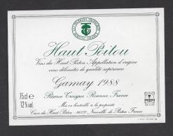 Etiquette De Vin Du Haut Poitou  Gamay 1988 -  Restaurant Des Frères Troisgros  à  Roanne  (42) - Sin Clasificación