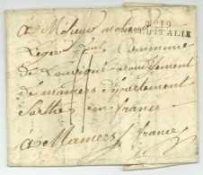 No. 19 ARM. D'ITALIE - Rome / Roma Pour Mamers (Sarthe) - 1809 - Armée D'Italie - 6e De Ligne - Bolli Militari (ante 1900)