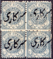 INDIA HYDERABAD 1873 SG #O15a 4a MH Block Of 4 CV £192 As Genuine Singles Perf 12½ SOLD AS IS - Hyderabad