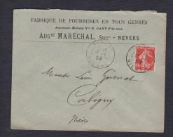 Marcophilie Cad Nevers Semeuse 10c  Lettre Fabrique De Fourrures Ancienne Maison Cavy Auguste Marechal Successeur - Marcophilie (Lettres)