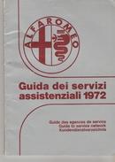 GUIDE DES AGENCES DE SERVICE ALFAROMEO 1972 102 PAGES - Tourisme, Voyages