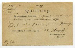 Wuerttemberg / 1878 / Quittung Ortsdruck Neuenbuerg (1/241) - Germania