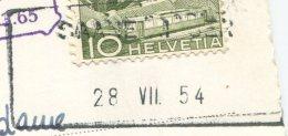 1504 - SAANENMÖSER 28.VII.54 - Aushilfstempel Auf Ansichtskarte - Marcophilie