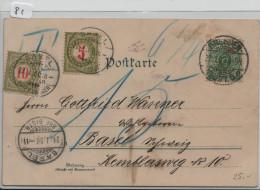 Porto/Taxe Nr. 17 + 18 - Ak Dresden Augustusbrücke U. Hofkirche - Litho } Basel 21.1.1900 - Postage Due