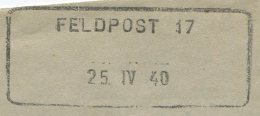1506 - FELDPOST 17 25.IV.40 - Aushilfstempel Auf Feldpostumschlag - Marcophilie