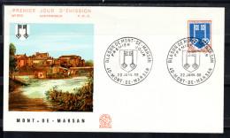 FRANCE 1969  FDC. BLASON DE MONT-DE-MARSAN  CN289 - FDC