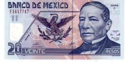 Mexico P. 116 20  Pesos 2001  Unc - Mexique