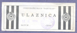 X2-Ticket Volleyball Club Partizan Yugoslavia 1979. - Tickets D'entrée