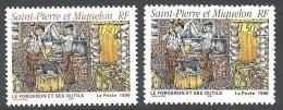 1996 Saint Pierre Et Miquelon N° 628 Et 629  Nf** . Le Forgeron Et Ses Outils . - Neufs