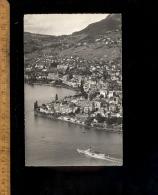 MONTREUX : Vue Générale Sur La Ville Et Un Bateau Vapeur Sur L E Lac Léman Schiff Steam Baot - VD Vaud