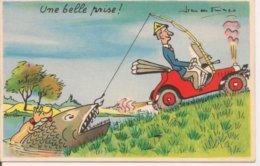 """L90A027 - """"Une Belle Prise!"""" ...Pêcheur Tirant Son Poisson En Voiture - Preissac"""