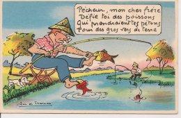 """L90A028 - """"Pêcheur Mon Cher Frère...."""" ...Pêcheur Se Faisant Mordre Les Pieds Par Des Poissons - Preissac"""
