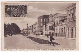 MANAUS-MANAOS (Brésil-Brazil-Amazonas) Avenida Ecuardo Ribeiro (Trecho) Vendo-se O Correio Geral-Timbre-Stamp-Publicité - Manaus