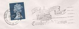 1990 Carlisle GB COVER SLOGAN  Illus CUMBERLAND NEWS ANNIV Newspaper  Stamps - 1952-.... (Elizabeth II)