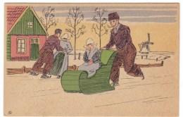 Dutch Winter Scene, Man Pushes Sled With Girl, NTR Or NRT Artist Signed Image, C1920s/40s Vintage Postcard - Europe