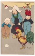 N. John Artist Signed Image, Dutch Children And Rooster Look At Egg, C1910s Vintage Postcard - Portraits