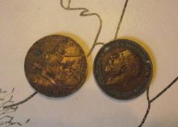2 Monnaie Anglaise Du Champ De Bataille - 1914-18