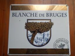 PLAQUE EMAILLEES BLANCHE DE BRUGES (3 Photos) - Plaques Publicitaires