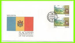 Moldavie 1992 4 FDC Drapeaux Protection De La Forêt Moldave Arbres Oiseau - Moldavie
