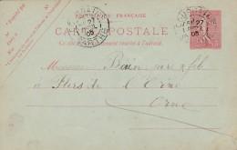 Cad Type 84 - COURSAING (72) - Sur Entier Postal