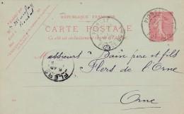 Cad Type 84 -PIONSAT (63) - Sur Entier Postal