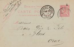 Cad Type 84 -NEUSSARGUES - MOISSAC (15) - Sur Entier Postal